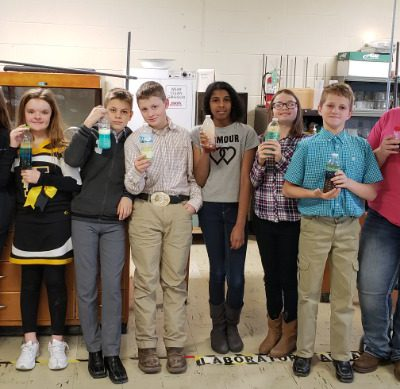 7th Grade students create density columns