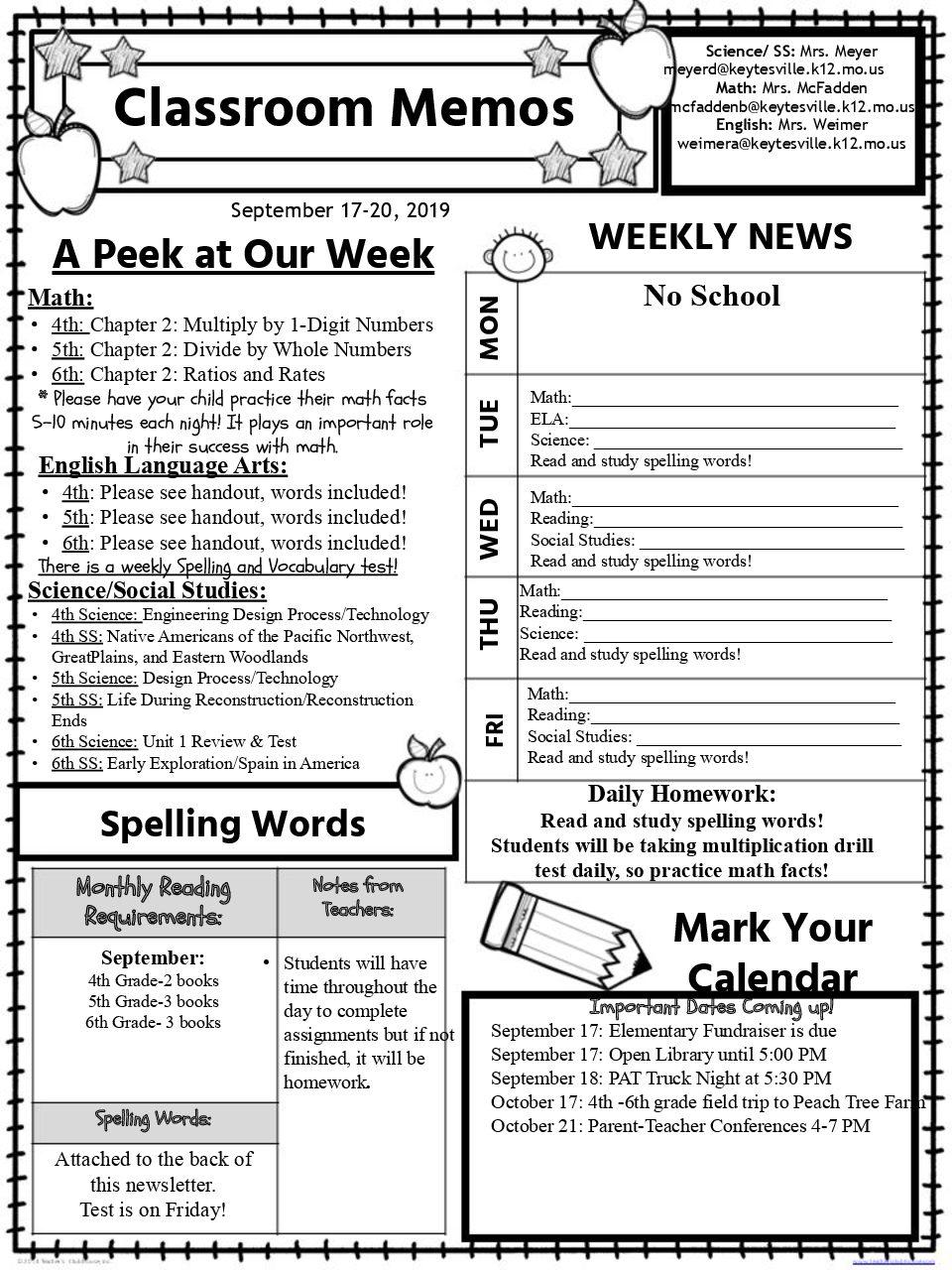 4th-6th Grade Newsletter September 17-20