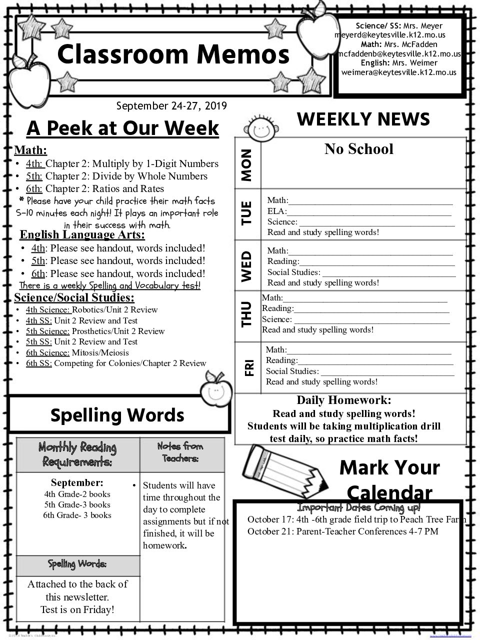 4th-6th Weekly Newsletter September 24-27