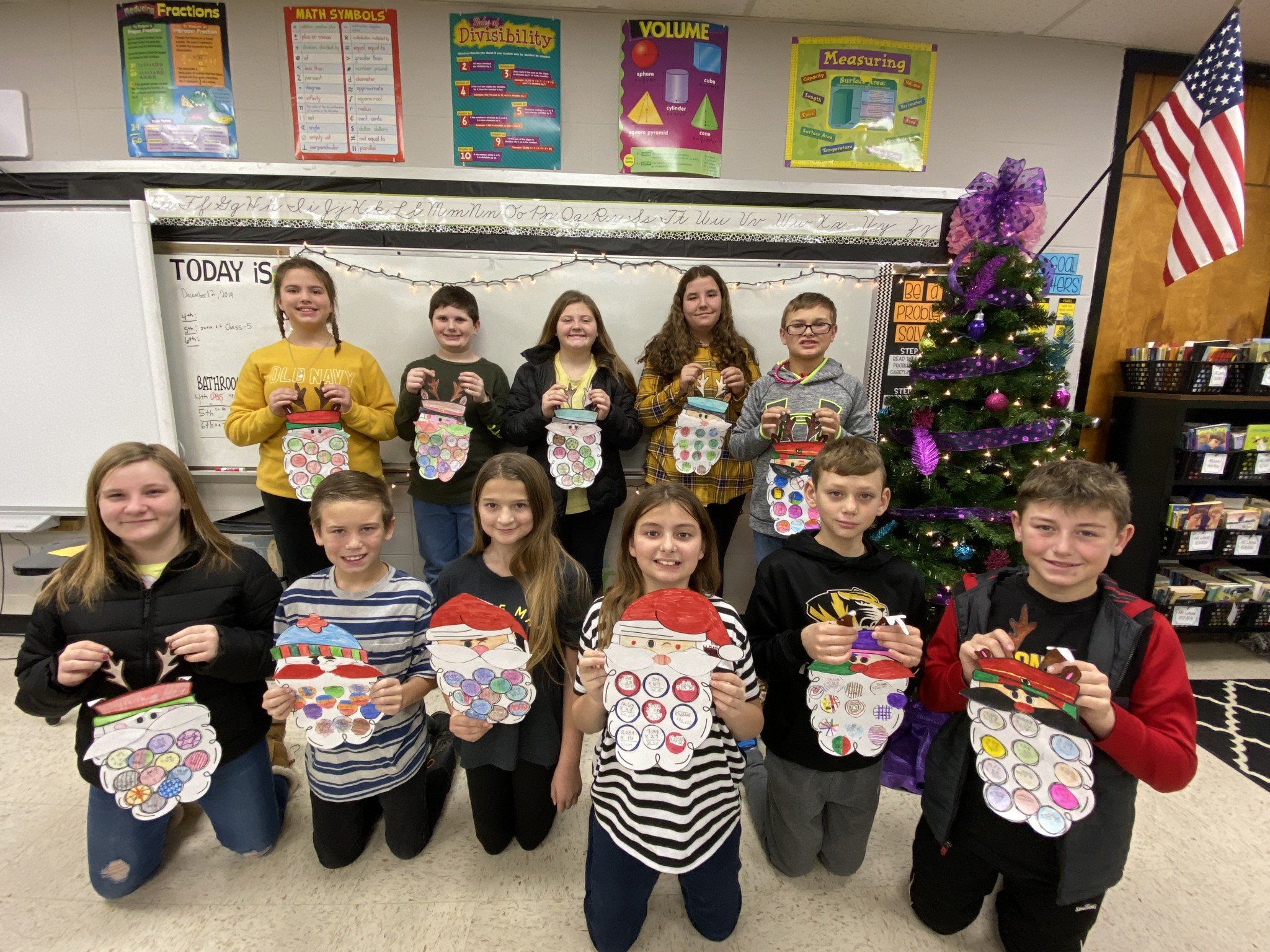 5th & 6th Grade Make Santas in Math!